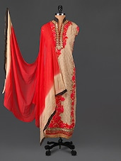 Embroidered Beige And Red Georgette Suit Set - Sarees Bazaar