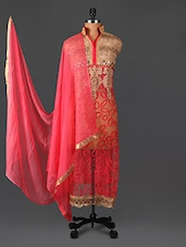 Embroidered Pink And Gold Georgette Suit Set - Sarees Bazaar