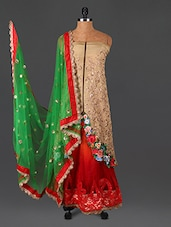 Embroidered Beige And Red Net Suit Set - Sarees Bazaar