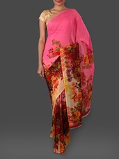 Striped Border Floral Print Chiffon Saree - By