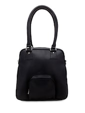 Solid Black Leatherette Handbag - Borsavela