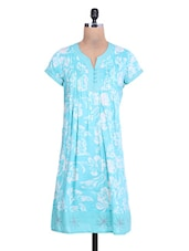 Blue Cotton Printed Long Sleeves Kurti - By
