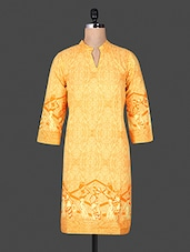 Mandarin Color Quarter Sleeve Ethnic Pattern Print Yellow Kurta - ANJANI