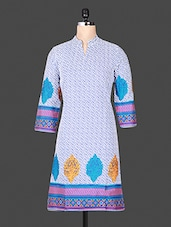 Printed Cotton Mandarin Color Quarter Sleeve Blue Kurta - ANJANI KURTIS