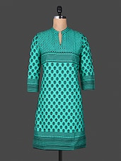 Block Print Mandarin Color Quarter Sleeve Green Kurta - ANJANI