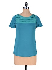 Blue Knitted Viscose Poly Crepe Top - Kaaryah