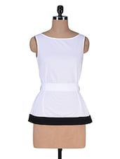 White Cotton Top With Fabric Belt - Kaaryah