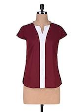 Red Poly Crepe Short Sleeve Top - Kaaryah