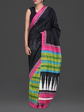 Stripe Print Geometric Print Pallu Saree - By