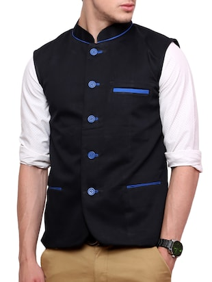 black cotton nehru jacket -  online shopping for Nehru Jacket