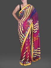 Striped Yellow And Magenta Georgette Saree - Saree Street