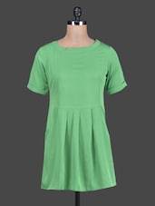 Round Neck Pleated Crepe Dress - Tops And Tunics