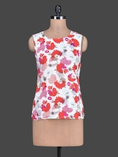 Printed Round Neck Sleeveless Cotton Top - Tops And Tunics