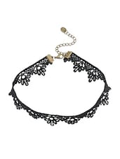Black Lace Choker Necklace - By