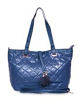 Blue Faux Leather Handbag Cum Sling - A-Progeny
