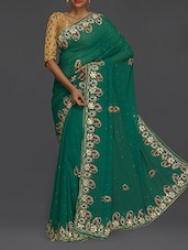 Embellished Border Green Chiffon Saree - SareesHut