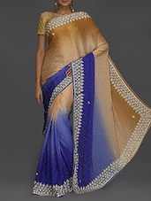 Embellished Blue Ombre Saree - SareesHut