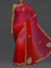Embellished Pink & Red Ombre Saree - SareesHut