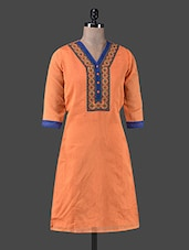 Orange Chanderi Silk Embroidered Kurta - By