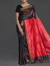 Brown Handwoven Muga Tussar Silk Saree - Cotton Koleksi