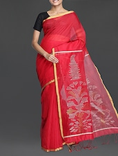 Red Handwoven Resham Saree With Gheecha Work - Cotton Koleksi