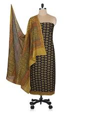 Black Printed Cotton Unstitched Suit Set - By - 1154334