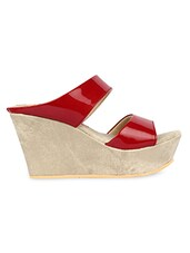 Glossy Red Open Toe Slip On Wedges - Urban Woods