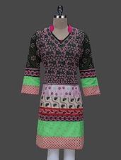 Multicolored Cotton Chikankari Kurta - By