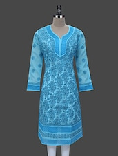 Sky Blue Cotton Chikankari Kurta - By