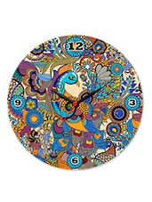 Multicolour Peacock Glass Clock - Kolorobia - Decor
