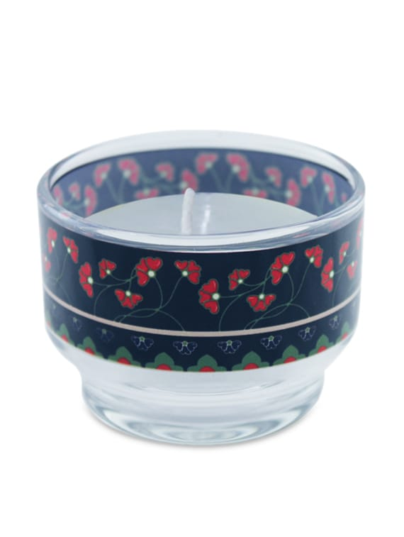 Blue And Red Flowers Glass Wax Candle Holder - Kolorobia - Decor