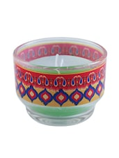 Multicoloured Glass Ikat Candle Holder - By