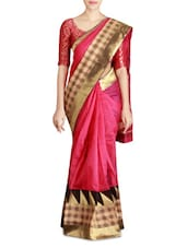 Pink Supernet Saree With Blouse Piece - By