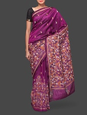 Kantha Work Plum Purple Bangalore Silk Saree - Shayeri