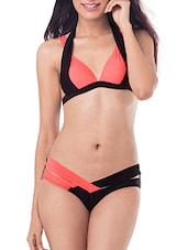 peach and black colour block nylon bikini -  online shopping for Bikinis