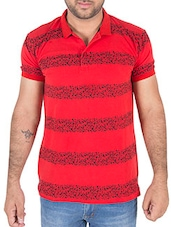 red printed cotton polo t-shirt -  online shopping for T-Shirts