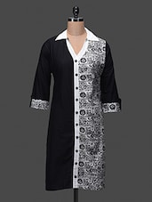 Black Plain And Printed Cotton Kurta - NAYO