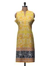 Yellow Printed Cotton Sleeveless Kurta - By