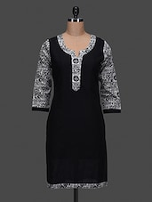 Black Plain Printed Cotton Kurta - NAYO
