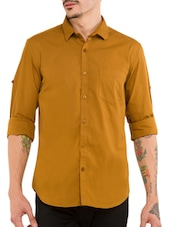 mustard yellow cotton casual shirt -  online shopping for casual shirts