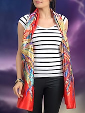 red printed satin scarf -  online shopping for Scarves