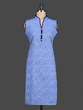Blue Floral Printed Cotton Kurta - By - 1155618