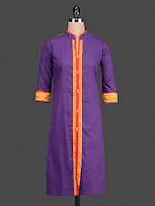 Purple Printed Cotton Kurta - Bitterlime
