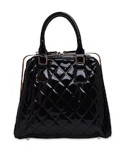 Solid Black Textured Fancy Handbag - By