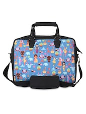 Black And Blue Quirky Print Laptop Bag - THE BACKBENCHER