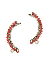 Red Beads Metallic Silver Ear Cuffs - By