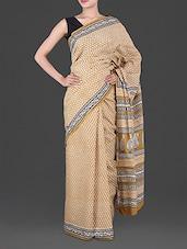 Paisley Print Pallu Block Printed Saree - Anjani Sarees