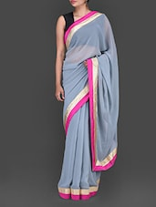 Grey Georgette Saree With Embroidered Blouse Piece - Bollywood Designz