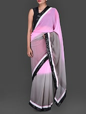 Pink And Grey Shaded Georgette Saree - Bollywood Designz
