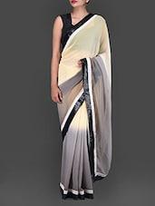 Cream And Grey Shaded Georgette Saree - Bollywood Designz